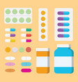 a set of collection pills medicine or medical vector image