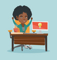 african-american happy woman having business idea vector image vector image