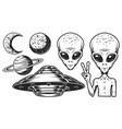 aliens and ufo set vector image