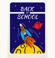 back to school poster with doodles rocket and vector image vector image