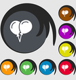 balloon Icon sign Symbols on eight colored buttons vector image vector image