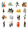 bank people isometric icons vector image vector image