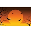 Bat and full sun at the afternoon Halloween vector image