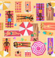 beach seamless pattern top view summer people on vector image vector image