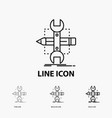 build design develop sketch tools icon in thin vector image vector image