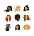 cartoon women portraits different ethnicity vector image