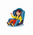 child sitting in car seat vector image