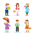 children wearing different clothes for autumn vector image vector image