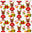 christmas seamless background with deers pattern vector image