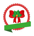 Circular emblem with christmas red bow with holly