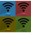 Color set WI-FI Flat modern web button with long vector image vector image