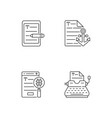 copy writing linear icons set vector image