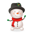 cute snowman - smile and wave vector image vector image
