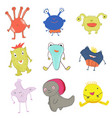 cute weird whimsical monsters vector image
