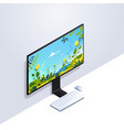 desktop computer monitor with keyboard and mouse vector image