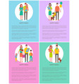 families set of posters mother father daughter son vector image vector image