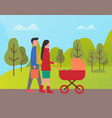 family day father and mother with perambulator vector image vector image