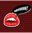 female mouth with speech bubble red lips and vector image vector image
