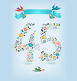 floral number fourty five with ribbon and birds vector image vector image