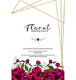 frame made with colorful peony flowers and golden vector image