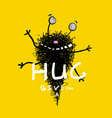 funny hugging monster greeting card vector image vector image