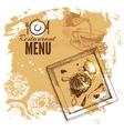 Hand drawn sketch restaurant food set European