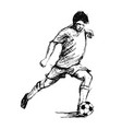 hand sketch soccer player vector image vector image