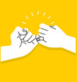 hands making promise on yellow background vector image vector image