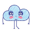 kawaii nice tender cloud with arms vector image vector image