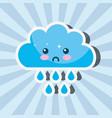 kawaii rain cloud drops cartoon weather vector image vector image