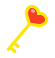 key with heart shape flat icon valentines day vector image vector image