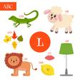 letter l cartoon alphabet for children lion lamb