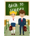 little boy and girl standing in classroom vector image vector image