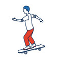 man skating on skateboard icon sport vector image