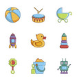 many toys icons set cartoon style vector image vector image