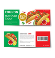 mexican food coupon discount template flat design vector image