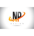 np n p letter logo with fire flames design and vector image vector image
