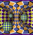 optical of rotation of three balls around of a vector image vector image
