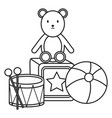plastic balloon with teddy and toys vector image vector image