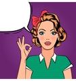 Pop art girl showing OK sign vector image vector image