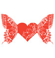 red heart with butterfly wings banner vector image