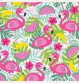seamless pattern with flamingo and fruits vector image