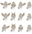 set flat grey owl icons vector image vector image