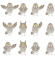 Set of flat grey owl icons vector image vector image
