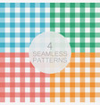 set of gingham seamless pattern vector image vector image