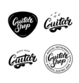 Set of guitar shop hand written lettering logos vector image