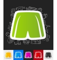 shorts paper sticker with hand drawn elements vector image