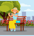 smiling woman sitting on wooden bench and making vector image vector image
