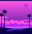 synthwave poster with beach and palms pink sunset vector image vector image