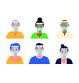 variety people wearing masks vector image vector image